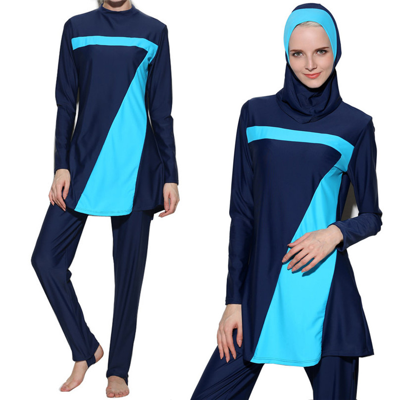 290941f5cd Balight Modest Muslim Swimwear Hajib Islamic Swimsuit For Women Full Cover  Conservative Burkinis Swim Wear Plus Size F40-in Muslim Swimwear from  Sports ...