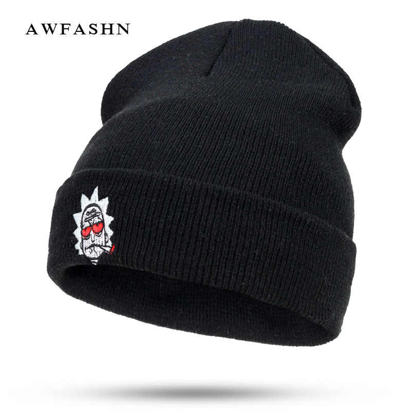 abab8f5e6d3 2018 New Embroidery Animation Ski knit Beanies Rick and Morty Winter Hat  Warm Man Woman Red