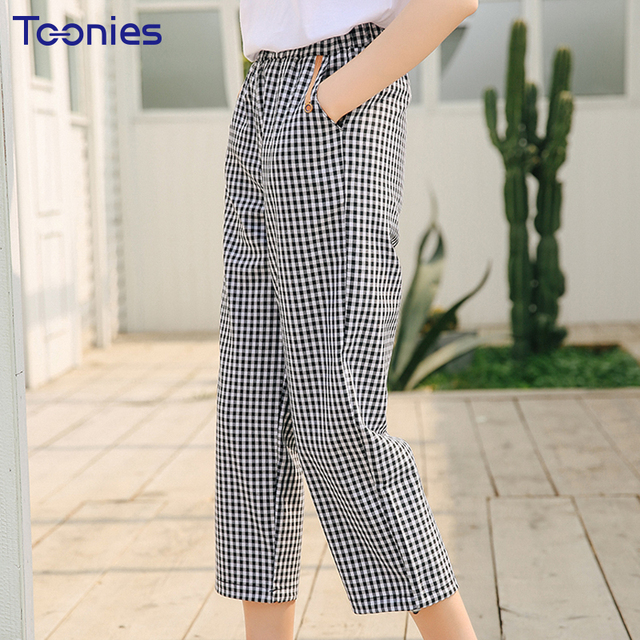 2018 новые летние прямые штаны-шаровары в клетку Для женщин Высокая Талия Брюки эластичный пояс свободные укороченные Для женщин s Повседневное брюки