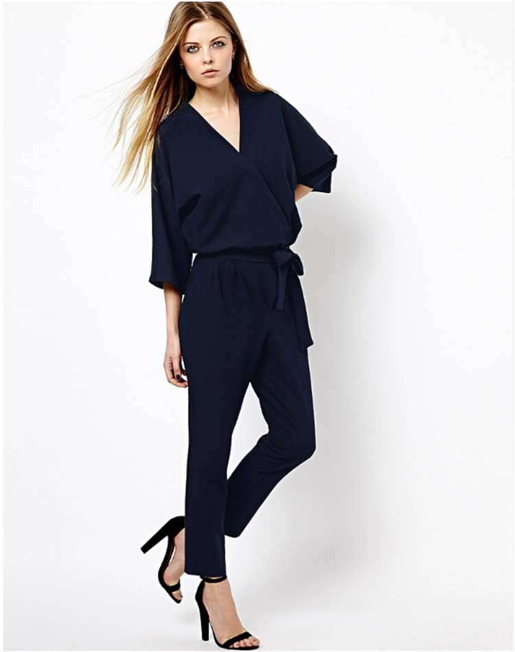 Elegant Black Navy Blue Chiffon Jumpsuit