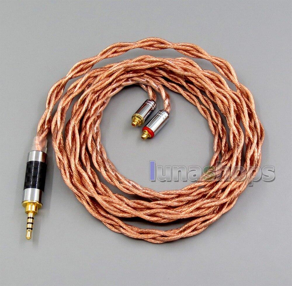 LN006039 4 core 2.5mm 3.5mm 4.4mm équilibré MMCX 7N OCC 1.5mm diamètre écouteur câble pour Shure SE535 SE846 Se215 personnalisé 5 B-in Écouteurs from Electronique    2