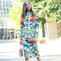 Fashion Casual Temperament Long Sleeve Skirt Sets 2016 Autumn Women Colurful Printed Skirt Suits