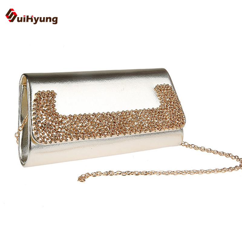 Suihyung Women's PU Leather Clutch Bag Lady Rhinestone Evening Bag Wedding Party Handbag Bridal Wallet Long Chain Shoulder Bags спиннинг штекерный swd crocodile 1 2 м 50 150 г