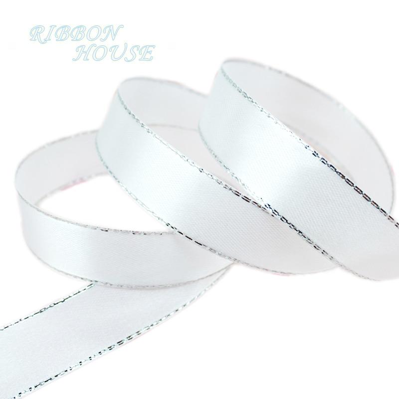 (25 ярдов/рулон) белый серебро атласная лента для оторочки оптовая продажа высокое качество упаковки подарка на Рождество ленты (6/10/20/25/40 мм)