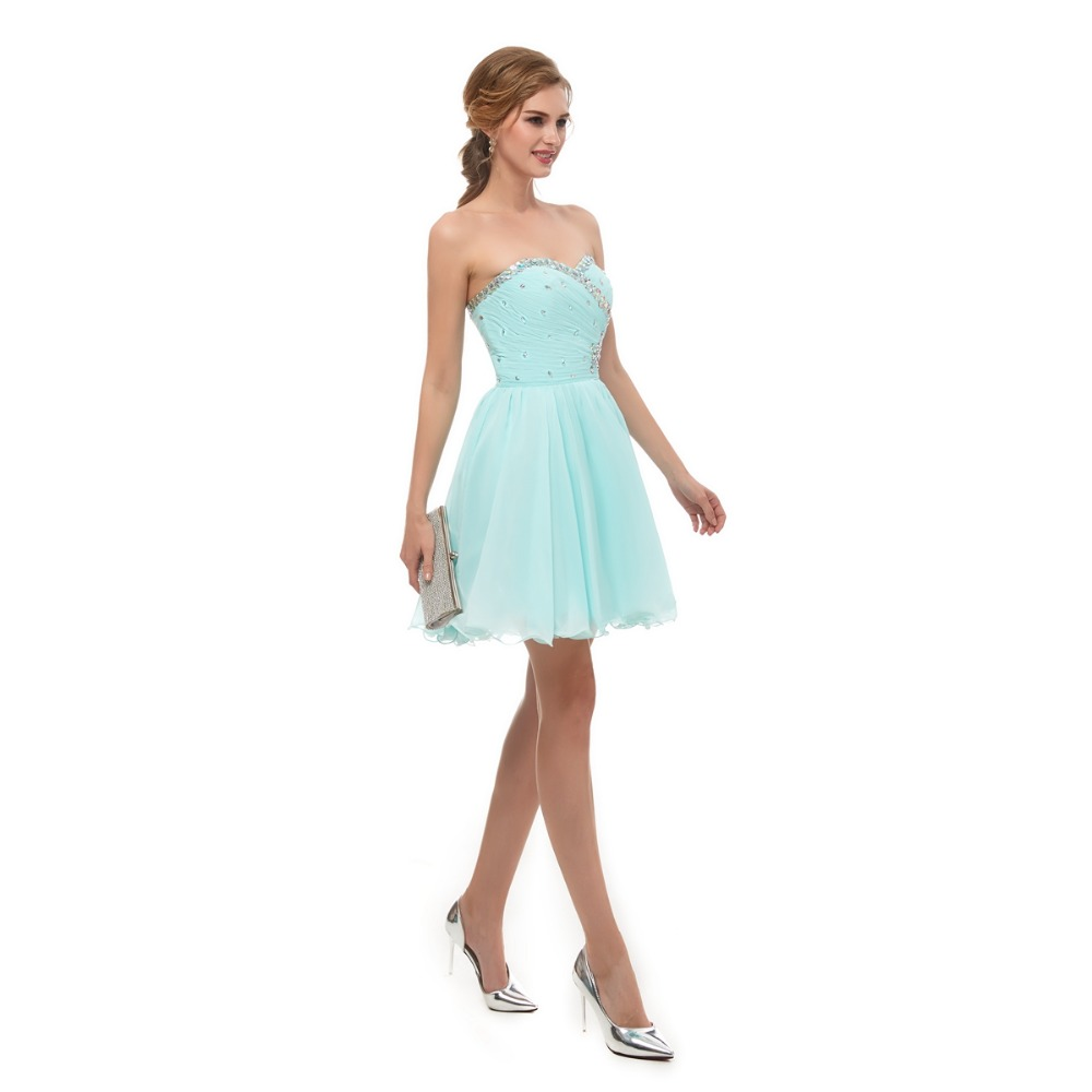 28251bf40cf41 Walk Beside You Mint Green Homecoming Dresses Strapless Sweetheart Crystal  Beaded Bodice Pleats Chiffon Short Graduation Gowns-in Homecoming Dresses  from ...
