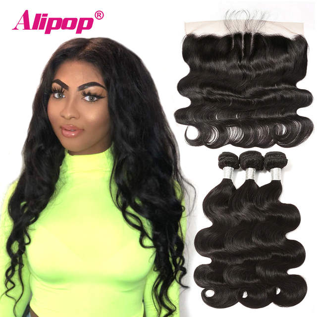 Alipop 13x4 Lace Frontal With Bundles Remy Peruvian Body Wave Human Hair Bundles With Frontal Closure 10-28 Inch Hair Extension