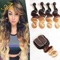 Роза волос бразильского виргинские волос с закрытие ombre человеческих волос с закрытием 8А Класса блондинка ломбер тело wave3 тон волос переплетения