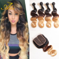 rosa hair brazilian virgin hair with closure ombre human hair with closure 8A Grade blonde ombre body wave3 tone hair weave