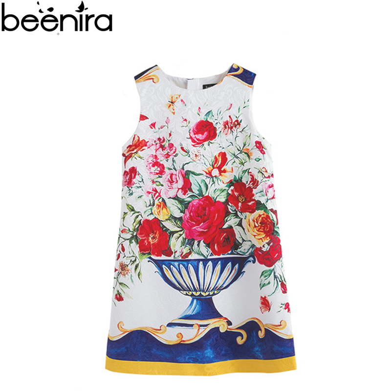 Summer Floral Girls Dress Girls Princess Dresses Children Customize Rose Vase Print Robe Brand Europe Party Clothing 4y-12y