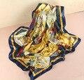 100% шёлк шарф женщины шарф акварель цветок шарф шелк бандана хиджаб средний квадрат шелк шарф накидка роскошь подарок для женщины
