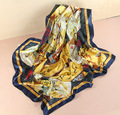 100% Silk Scarf Women Scarf Watercolor Flower Scarf Silk Bandana 2015 Hijab Middle Square Silk Scarf Wrap Luxury Gift for Women