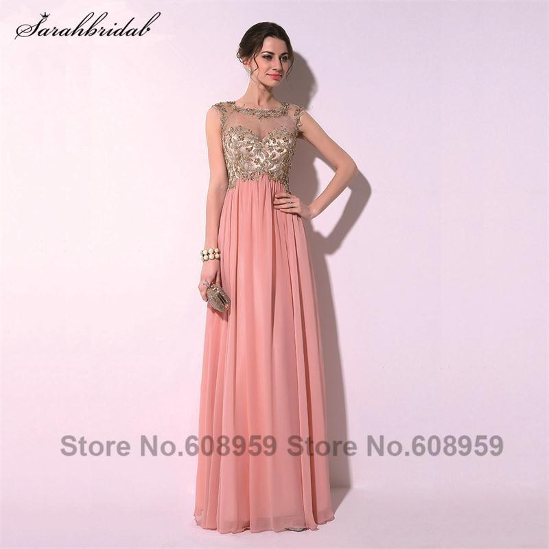 Елегантний рожевий сексуальний аплікації кришталь спинки жінки пром сукні мода-лайн довжина підлоги партія халати De Deire TZ014  t