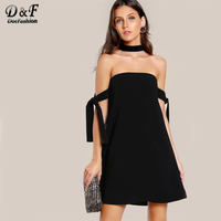 Dotfashion Tie Sleeve Choker Knot Dress 2017 Women Clothes Black A Line Short Dress Off The