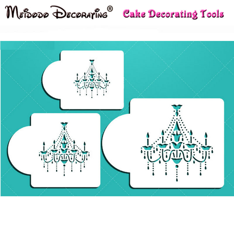 New High Quality 3pcs Chandelier Cake Stencils Cookie And Coffee Decorating Stencilstools Moulds