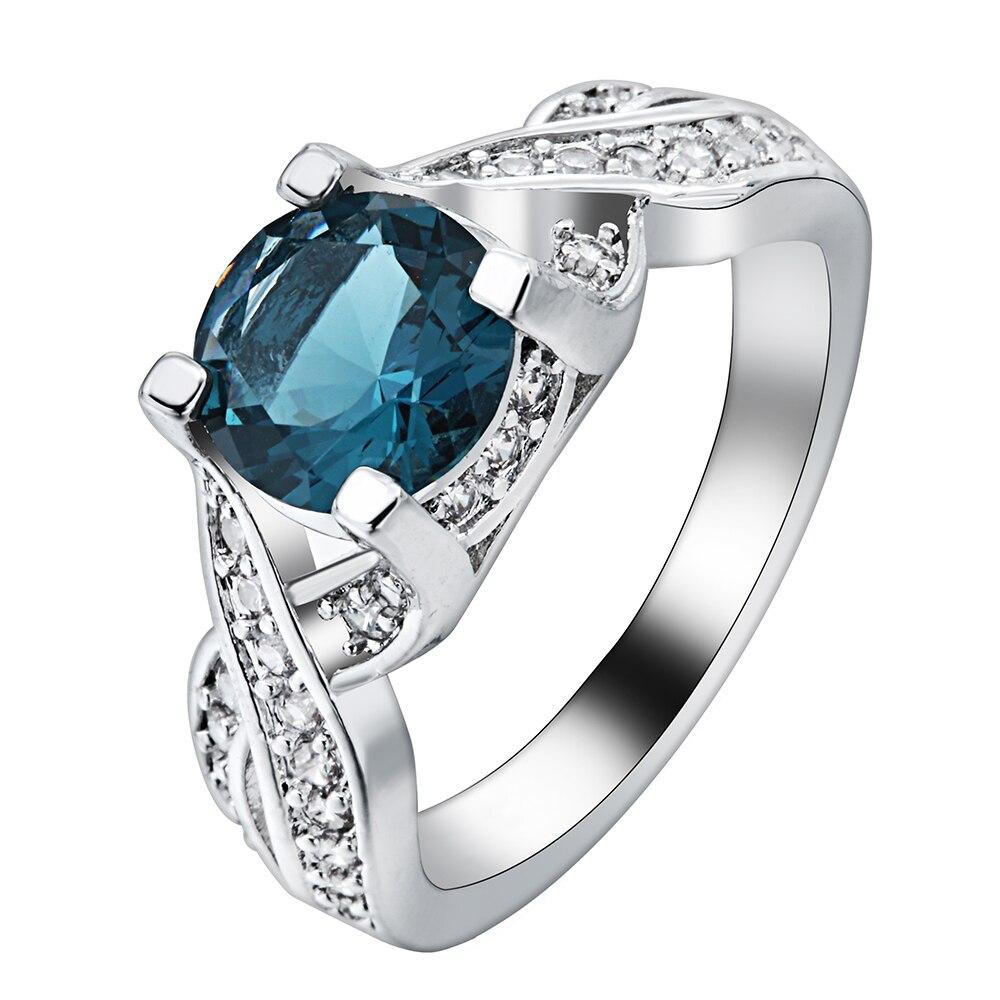 2017 cross finger Rings wholesale new design luxury blue cz zircon wedding Engagement Ring for women drop shipping