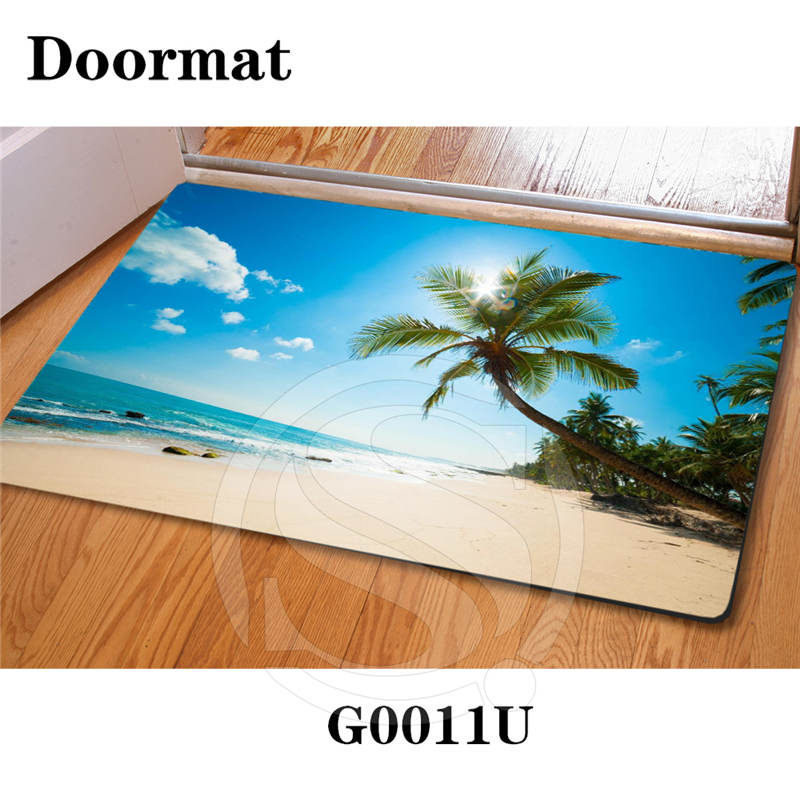 Free Shipping Custom Caribbean beach DoorMat Art Pattern Printed Carpet Floor Hall Bedroom Cool Pad Fashion Rug SQ0626-SQW23 image