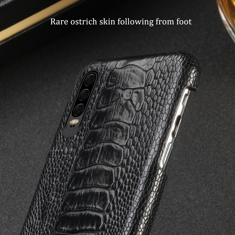 Natural Ostrich Leather For Huawei p30 pro high end leather phone case for Huawei p30 Lite p20 pro p20 fall protection sleeve - 2