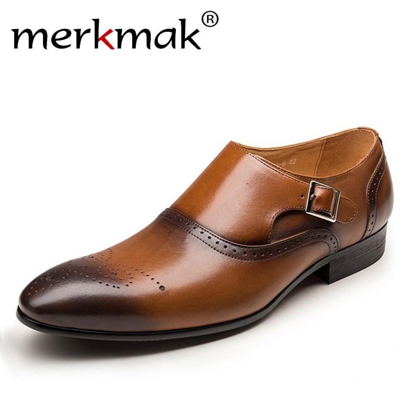 цена Merkmak Men Dress Shoes Vintage Brogue Oxford Shoes Fashion PU Leather Double Monk Buckle Strap Shoes Wedding Formal
