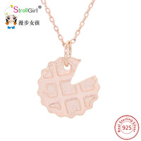 StrollGirl High Quality Sterling Silver Jewelry Pendnts Necklace Rose Gold Color For Gifts Women Chain Necklace