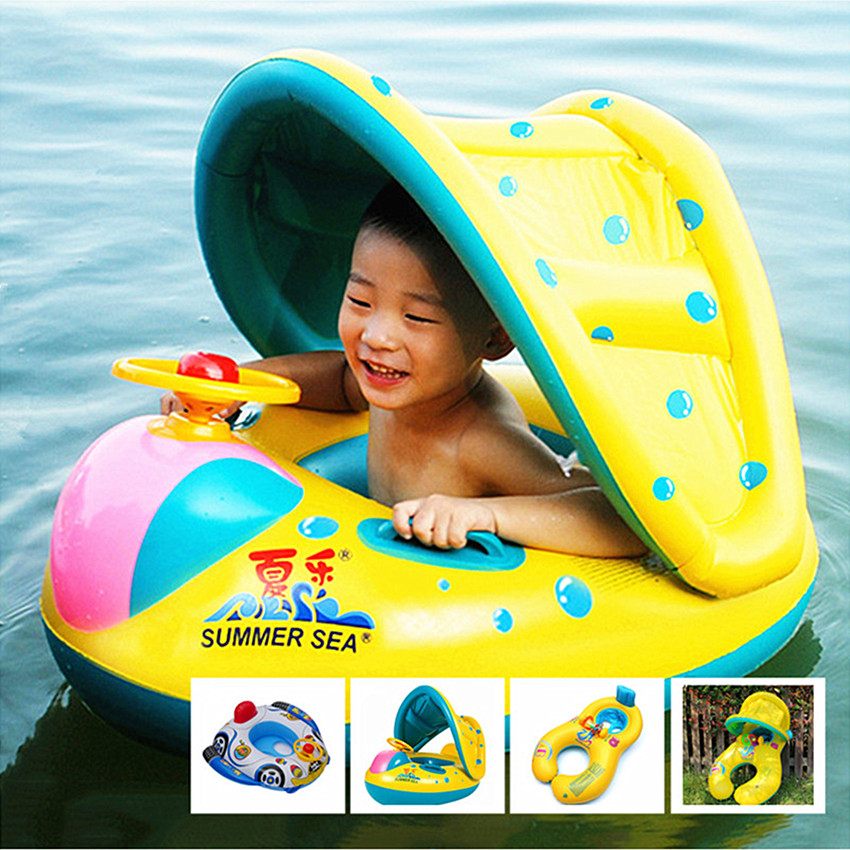 1PC Kids Swimming Rings Wheel Inflatable Mother and Baby Pool Swim Ring Seat Float Boat With Sunshade Summer Games Pool Toy