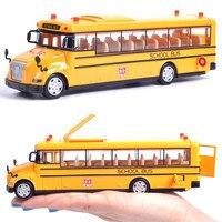 1:50 Масштаб сплава pull Back модель автомобиля, школьный автобус модели, качественная игрушка, 3 открытых дверей, Звук Свет игрушка, бесплатная до...