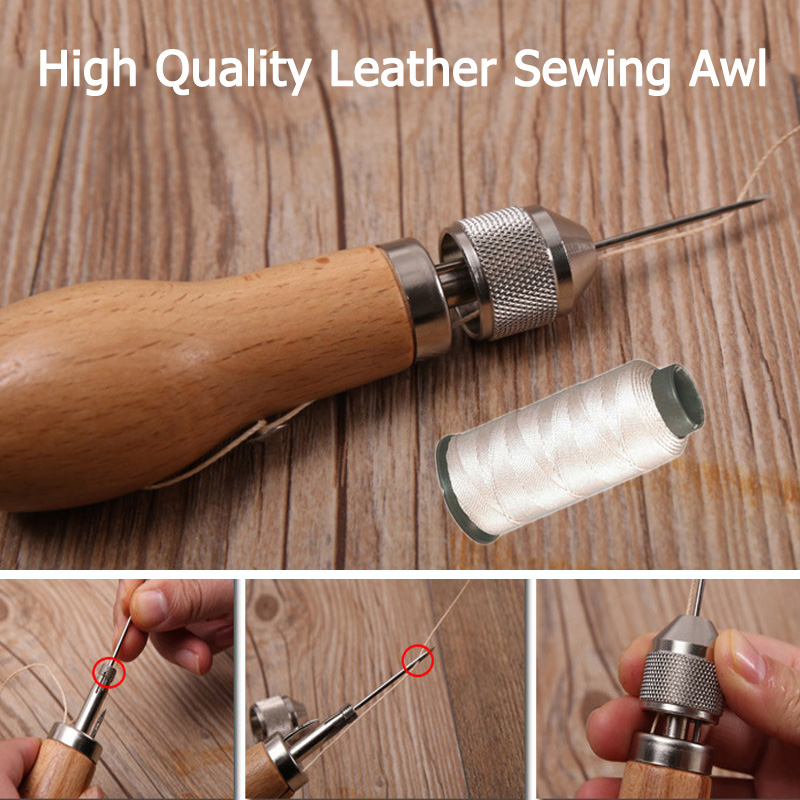 Leather Sewing Awl Repairing Tool Set Quick Stitch DIY Sails Leather Craft Tools Stitching Accessories with Thread image