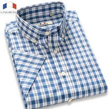Langmeng marke 100% baumwolle großhandel 2017 männer casual shirts sommer männlichen kurzarm slim fit plaid shirts mens dress shirts
