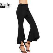 SheIn Trousers Women Fitness Clothing Women's Pants Casual Pants Women Black Scallop Waist Asymmetric Flared Pants