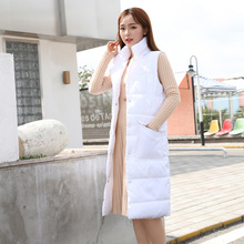 2018 new Korean version of the thickening long sleeveless Down jacket woman hooded winter long section slim waist buckle vest