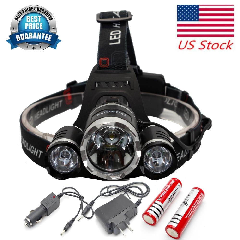 6000 Lumen Bright Headlight Headlamp Flashlight <font><b>Torch</b></font> 3 CREE XM-L 3T6 <font><b>LED</b></font> Hiking Camping Riding Fishing Hunting Car charger USA