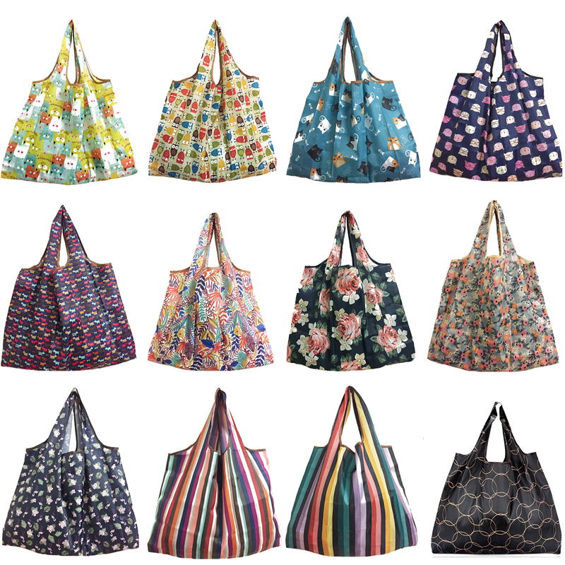 2018 New Lady Foldable Recycle Shopping Bag Eco Reusable Shopping Tote Bag Cartoon Floral Fruit Vegetable Grocery FS11(China)