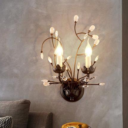 Kristall Wand Lampe Sretro Vintage Metall Wand Lampe Hause Beleuchtung Kristall Wand Lichter flur 2 Kopf E14 Led Leuchten - 6