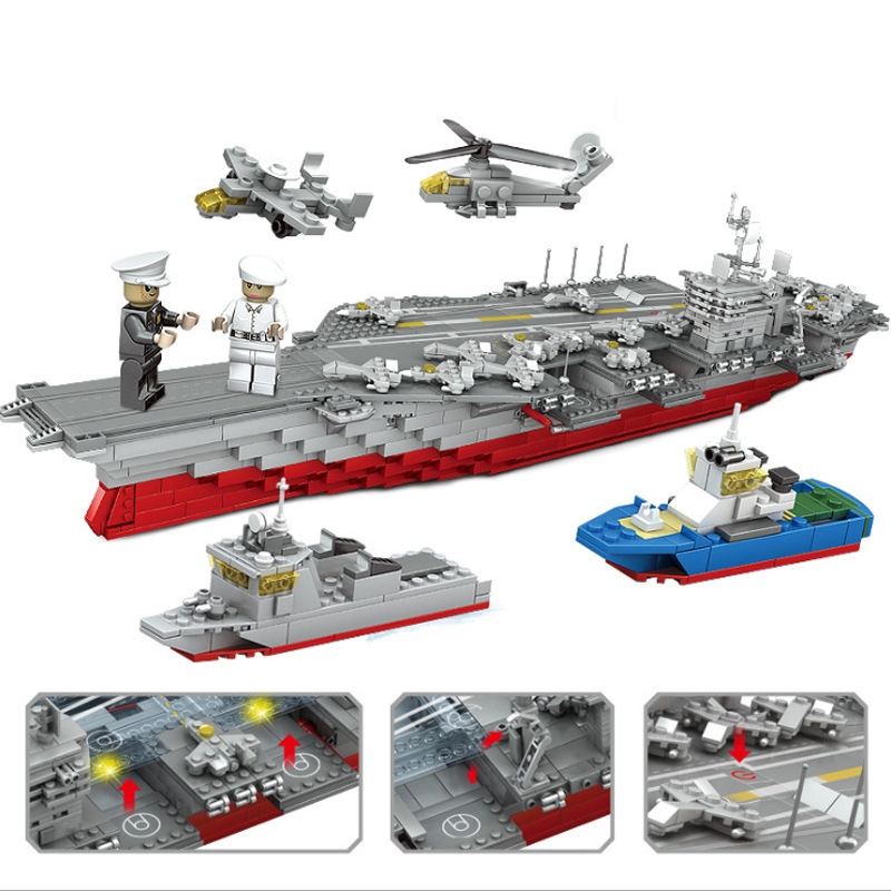 1868pcs Children s building blocks toy Compatible city military Large battleship DIY figures Bricks birthday gifts