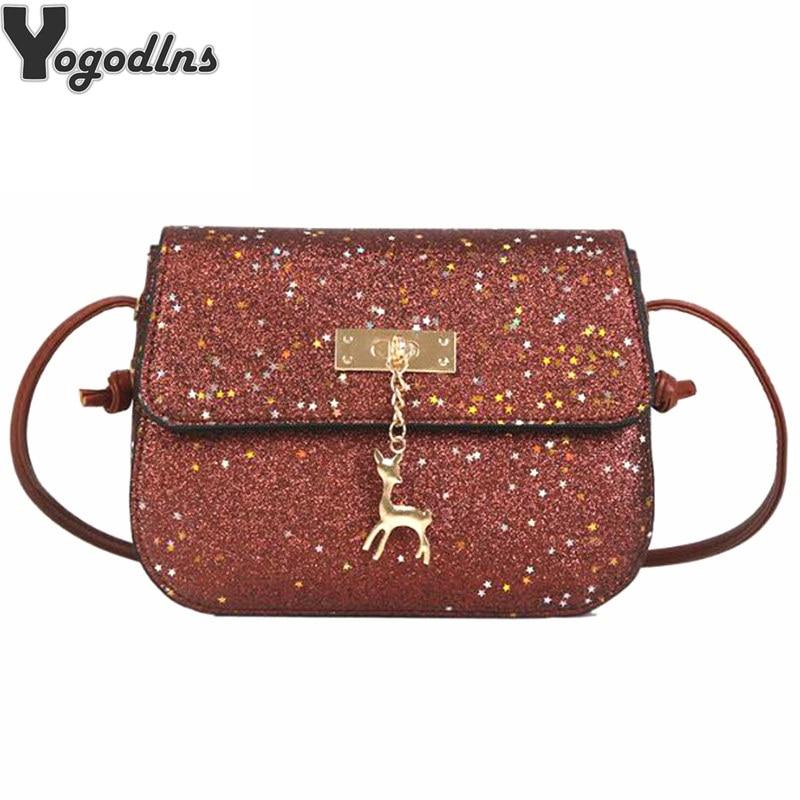 Glitter Women Messenger Shoulder Bag Shining PU Leather Party Day Clutches Purses Handbags Deer Sequin Decor Crossbody Bags shoulder bag