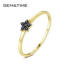 Mücevher ve zaman oluşturulan siyah Spinel yıldız 14K altın yüzük kadınlar için hakiki sarı altın 585 düğün Band yüzük hediye güzel takı R14111