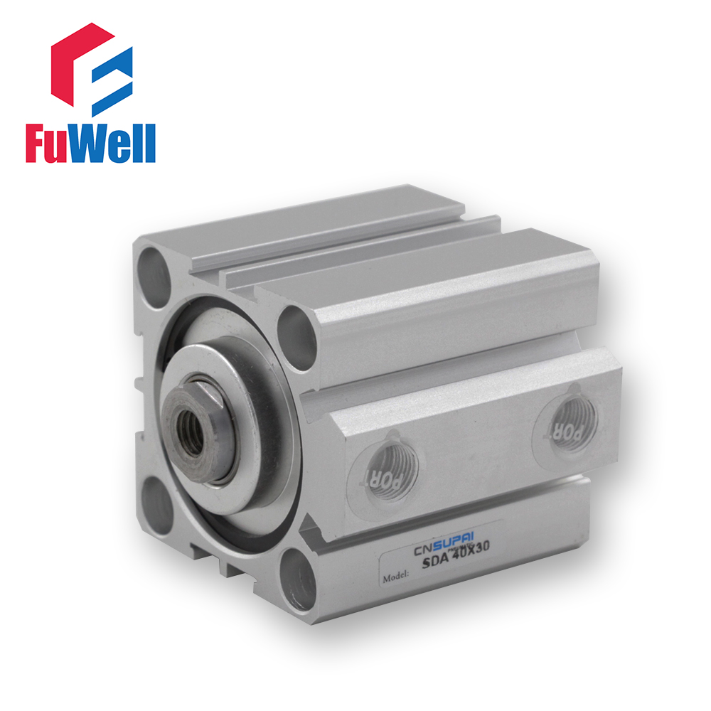 SDA Tipi Kompakt Pnömatik Silindir 40mm Çap 5/10/15/20/25/30/40/50mm İnme Alüminyum Alaşım Çift Eylem Hava Silindir