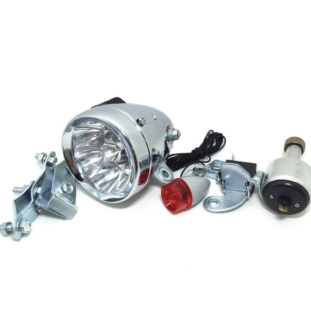q038 gemotoriseerde achterlicht koplamp kit fiets wrijving generator dynamo bike head achterlicht led lamp mtb retro