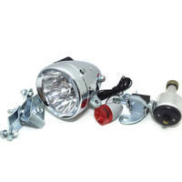 Q038 Motorized Taillight Headlight Kit Bicycle Friction Generator Dynamo Bike Head Tail Light LED Lamp MTB retro bike LED lights