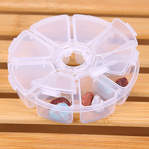 Round Guitar Picks Jewel Fishing Case Storage Medicine Box 8 Grids Container