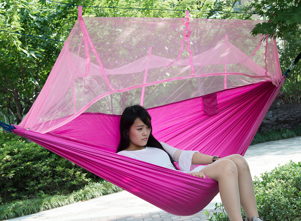 FF Single person Portable Parachute Fabric Mosquito Net Hammock Indoors Garden Outdoor Hanging Bed for Travel Kit Camping Hiking