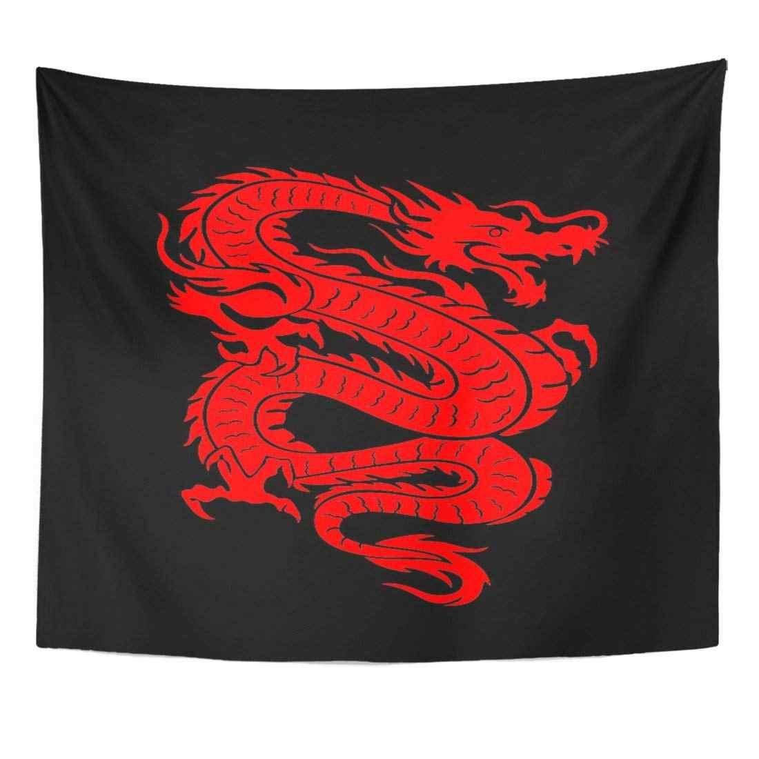Tapiz 3D, tatuaje de dragón rojo chino en negro, decoración de pared colgante para el hogar