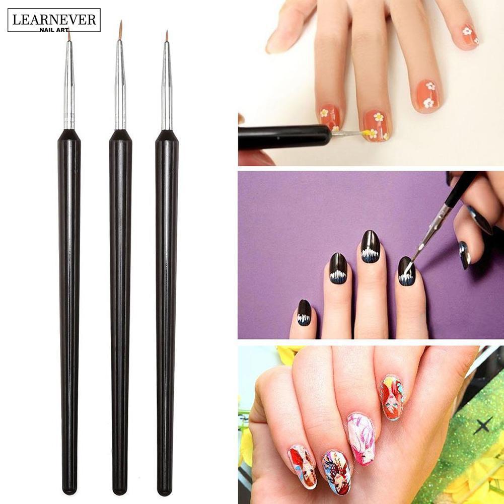 Hot Sale 3 Pcs Nail Art Brush Dotting Pen Set Black Acrylic French