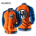 Aolamegs Baseball Jacket Men Japanese Anime Dragon Ball Goku Jacket Coat Autumn Casual Baseball Uniform Raglan sleeve Outwear