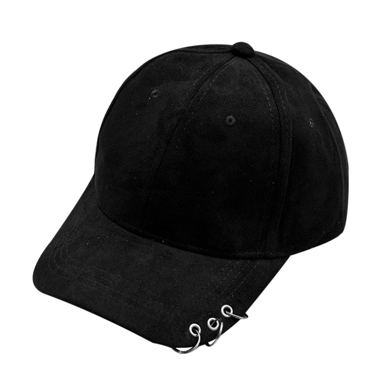 2017 Unisex Solid Ring Safety Pin Curved Hats Baseball Cap Men Women Suede Snapback Caps Casquette Gorras Hip Hop Cool Hats F3