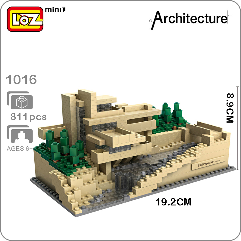 LOZ Architecture 1016 Fallingwater Pennsylvania 3D Model DIY Mini Blocks Bricks Diamond Nano World Famous Building Toy no BoxLOZ Architecture 1016 Fallingwater Pennsylvania 3D Model DIY Mini Blocks Bricks Diamond Nano World Famous Building Toy no Box