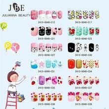 24 шт накладные ногти для девочек с мультяшным рисунком