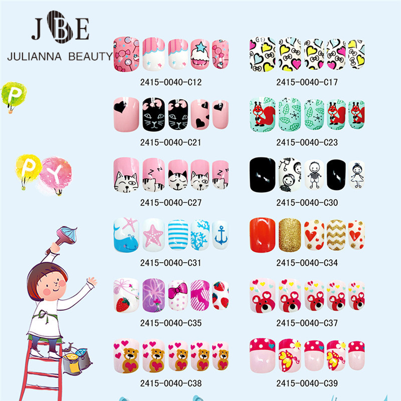 24PCS Press on Children Candy False Nail Tips Cartoon Full Cover Kid Pink Fake Nail Art for Little Girls 14 Design Manicure Tool(China)