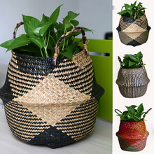 WHISM Nature Handmade Storage Basket Folding Flowerpot Seagrass Garden Planter Wickwork Sundries Organizer Straw Laundry Baskets nidalee sexy women swimwear high waist bikini plus size 3xl swimsuit beach bathing suit push up bikini set maillot de bain femme