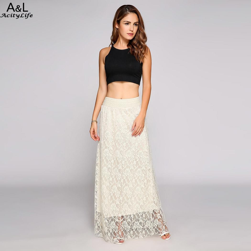 White Lace Maxi Skirt Promotion-Shop for Promotional White Lace ...