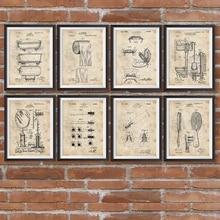 Patentes de baño Blueprints Vintage Posters Arte de pared imprime decoración de baño, fotos de pintura de regalo de barbero para barbería